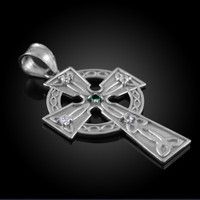 White Gold Celtic Trinity Diamond Cross Pendant with Emerald