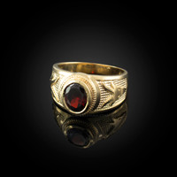 Yellow Gold Capricorn Zodiac Sign January Birthstone Red CZ Ring
