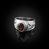 White Gold Capricorn Zodiac Sign January Birthstone Red CZ Ring