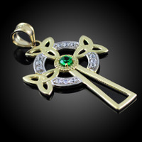 Two-Tone Gold Celtic Cross Trinity Knot Diamond Pendant with Emerald
