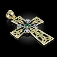 Gold Celtic Cross Trinity Knot Diamond Pendant with Emerald
