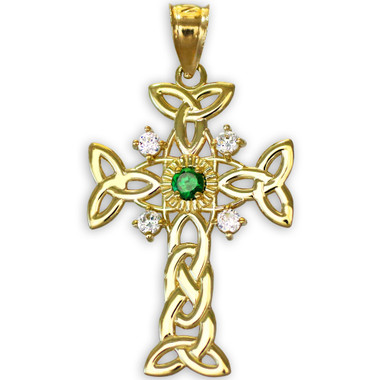 Gold celtic knot trinity cross diamond pendant with genuine emerald aloadofball Choice Image