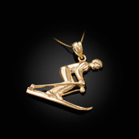 Yellow Gold Male Alpine Skier Pendant Necklace