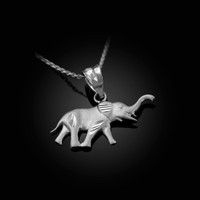 Satin DC White Gold Elephant Charm Necklace