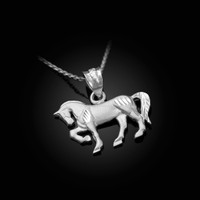 Satin DC White Gold Horse Charm Necklace