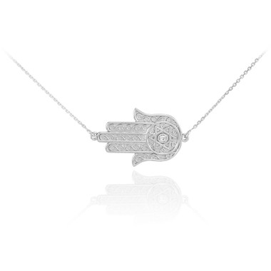 14k white gold sideways hamsa diamond necklace mozeypictures