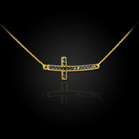 14K Gold Sideways Black Diamond Cute Curved Cross Necklace