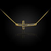 14K Gold Sideways Black Diamond Cute Curved Cross Necklace