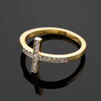 Gold Diamond Pave Sideways Cross Ring