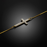gold diamond cross bracelet