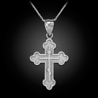 White Gold Russian Eastern Orthodox Cross Charm Pendant Necklace