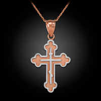 Two-Tone Rose Gold Eastern Orthodox Cross Charm Pendant Necklace