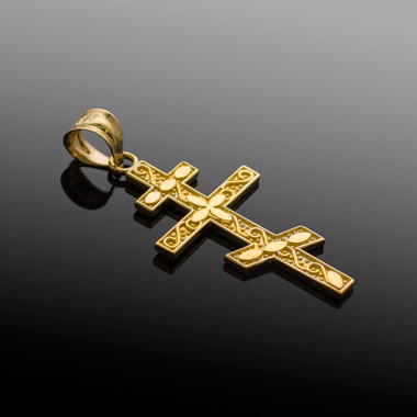 Gold russian orthodox cross pendant aloadofball Images