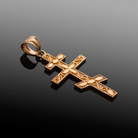 Rose Gold Russian Orthodox Cross Pendant