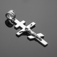 White Gold Russian Orthodox Crucifix Pendant Necklace