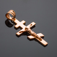Rose Gold Russian Orthodox Crucifix Pendant