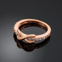 Rose Gold Infinity Clear CZ Knukle Ring
