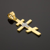 Diamond Studded Gold Russian Orthodox Cross Pendant