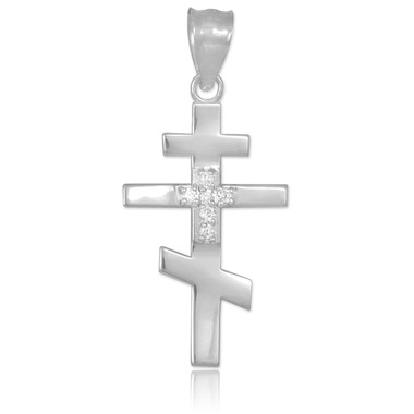 Diamond studded white gold russian orthodox cross pendant aloadofball Images