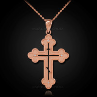 Rose Gold Russian Eastern Orthodox Diamond Cross Pendant Necklace