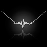 white gold heart beat pulse necklace