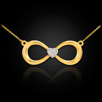 Gold Diamond Infinity Necklace.