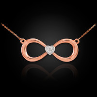14K Rose Gold Infinity Diamond Heart Necklace