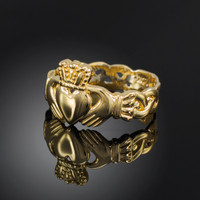 Ladies Gold Claddagh Ring with Trinity Band