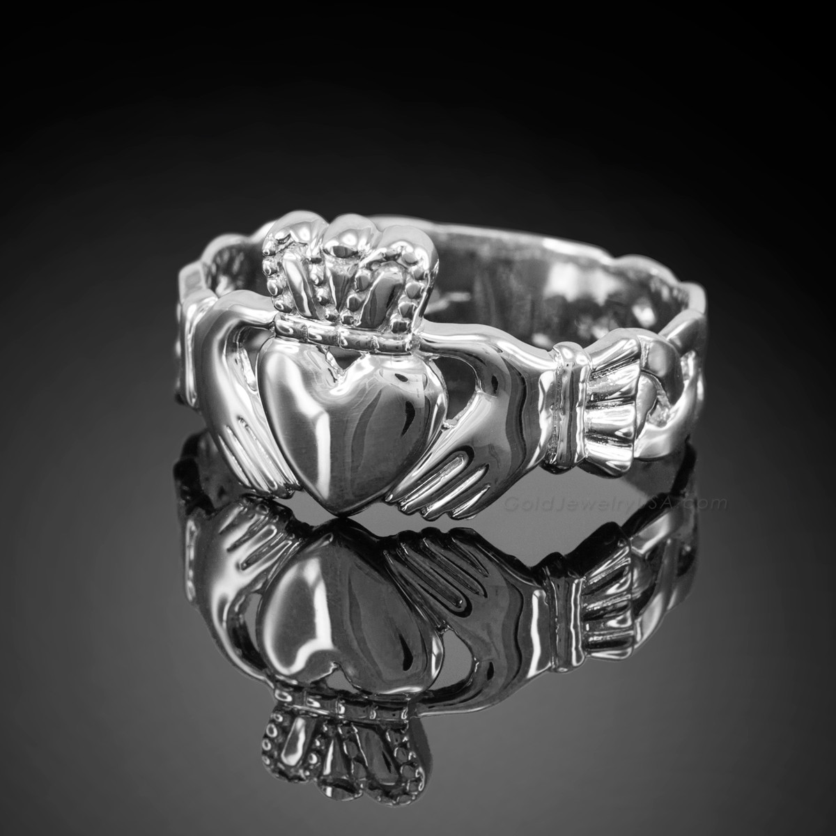 white gold men 39 s claddagh ring with trinity band usa ebay. Black Bedroom Furniture Sets. Home Design Ideas