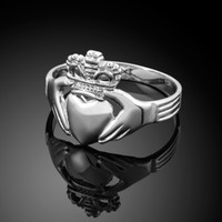 White gold classic claddagh ring.