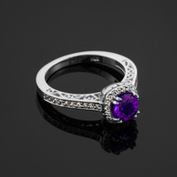 White Gold Amethyst Solitaire Halo Diamond Pave Gold Engagement Ring