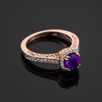 Rose Gold Amethyst Solitaire Halo Diamond Pave Gold Engagement Ring