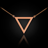 14K Rose Gold Triangle Necklace