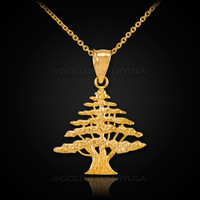 Gold Cedar Tree of Lebanon Charm Necklace