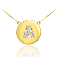 "14k Gold Letter ""A"" Initial Diamond Disc Necklace"