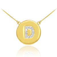 "14k Gold Letter ""D"" Initial Diamond Disc Necklace"