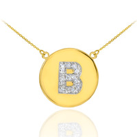 "14k Gold Letter ""B"" Initial Diamond Disc Necklace"