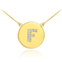 "14k Gold Letter ""F"" Initial Diamond Disc Necklace"