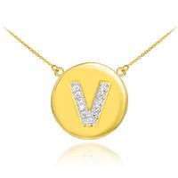 "14k Gold Letter ""V"" Initial Diamond Disc Necklace"