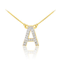 "14k Gold Letter ""A"" Diamond Initial Monogram Necklace"