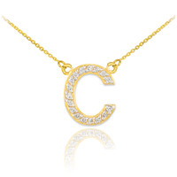 "14k Gold Letter ""C"" Diamond Initial Monogram Necklace"