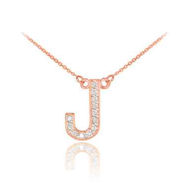 14k rose gold letter j diamond initial necklace mozeypictures Image collections