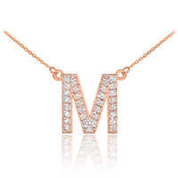 "14k Rose Gold Letter ""M"" Diamond Initial Monogram Necklace"
