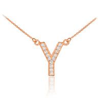 "14k Rose Gold Letter ""Y"" Diamond Initial Necklace"