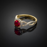 Gold Ruby Birthstone Infinity Ring with Diamonds