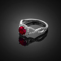 White Gold Ruby Birthstone Infinity Ring with Diamonds