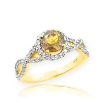 Gold Citrine Birthstone Infinity Ring with Diamonds