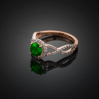Rose Gold Emerald Diamond Infinity Engagement Ring