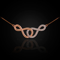 14k Rose Gold Double Infinity Necklace with Diamonds