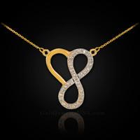 14k Gold Diamond Infinity Heart Necklace